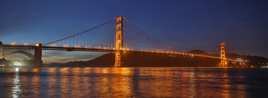 Twilight view of the Golden Gate from Torpedo Wharf