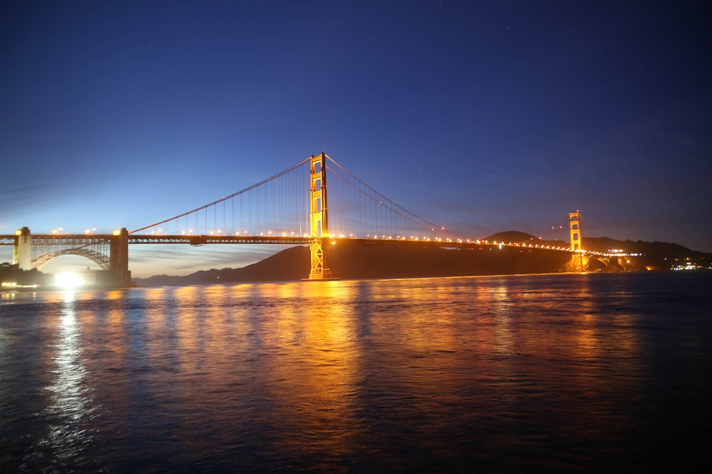 """Torpedo Wharf view of the Golden Gate Bridge during the """"blue hour"""""""