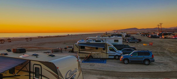 Camping on Del Mar Beach