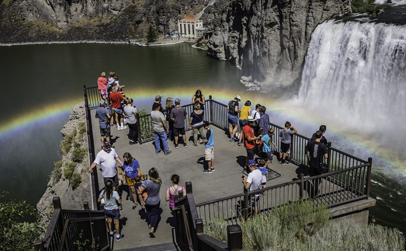 Fly over Shoshone Falls, Spectacular Rainbows, Cutoff by Walmart Truck